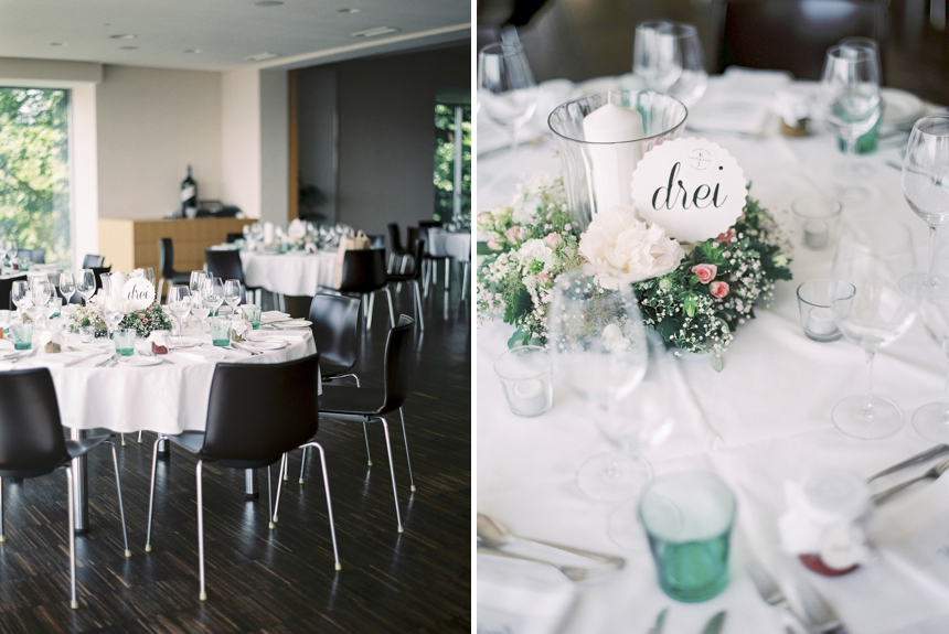 reception at Schlossberg restaurant graz, table decoration , stationery by goldmarie