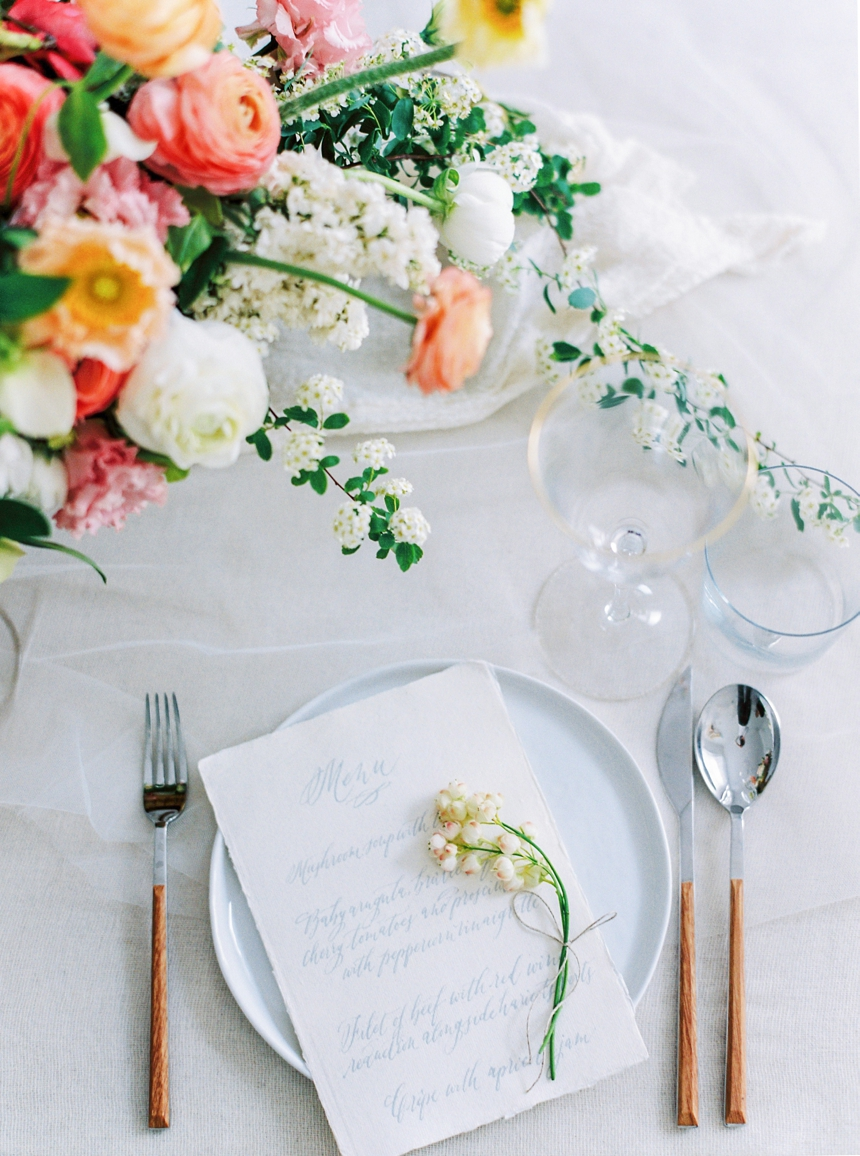 spring wedding , table setting inspiration by Viktoria Antal for Lovely weddings , photographed by Melanie Nedelko destination wedding photographer