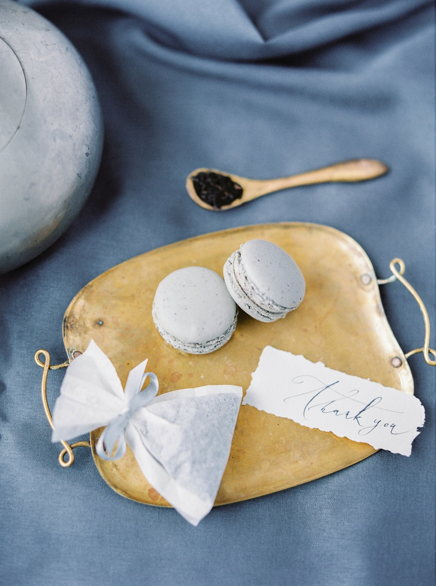timeless & elegant winter wedding inspiration- wedding guest give away - early grey macarons