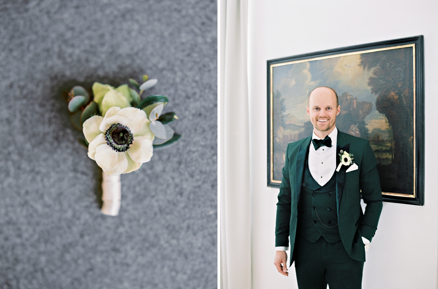 groom , green tuxedo , getting ready & boutonniere © Melanie Nedelko