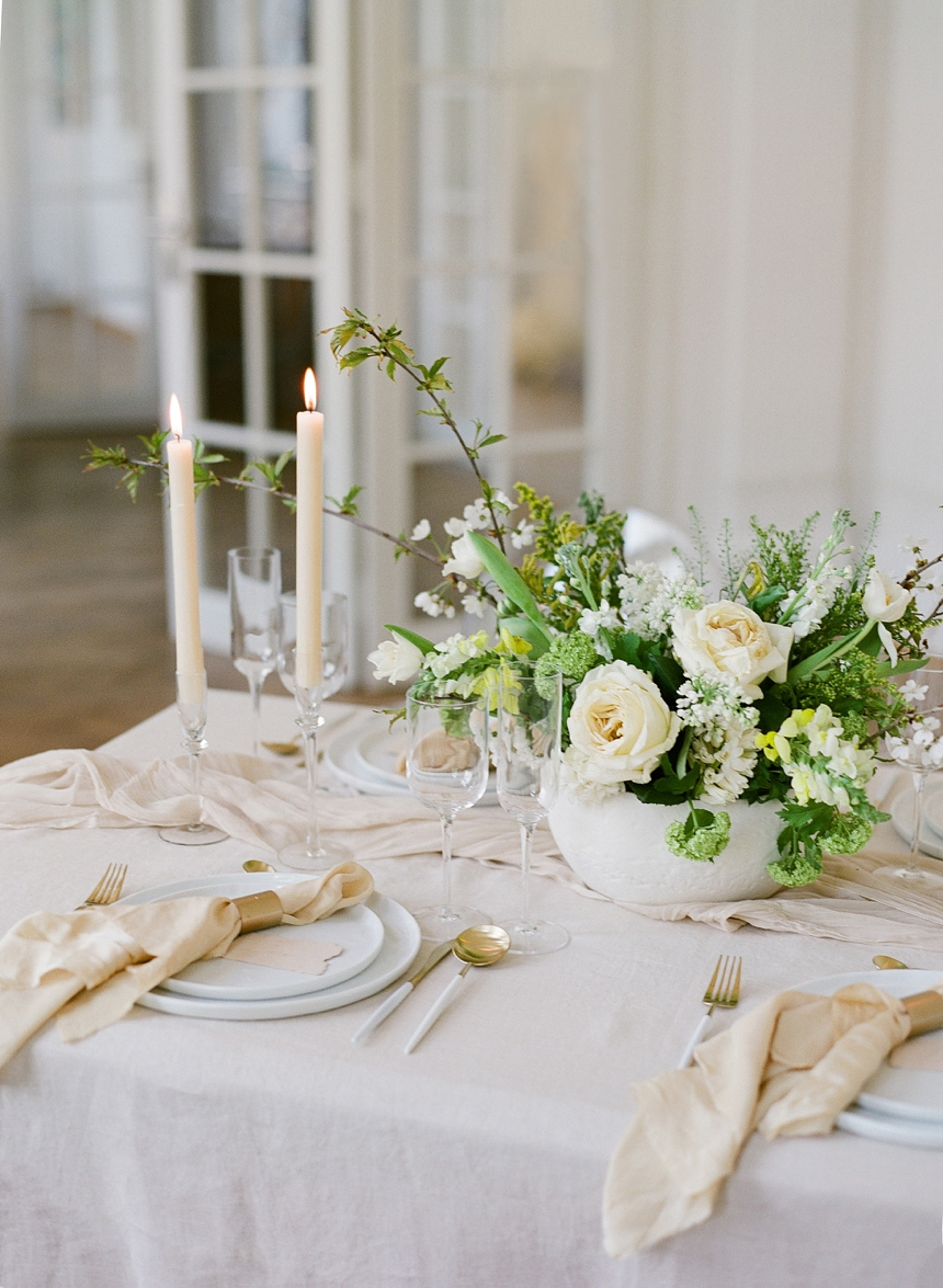 yellow-toned spring wedding inspiration , centerpiece in lush green, table decoration idea