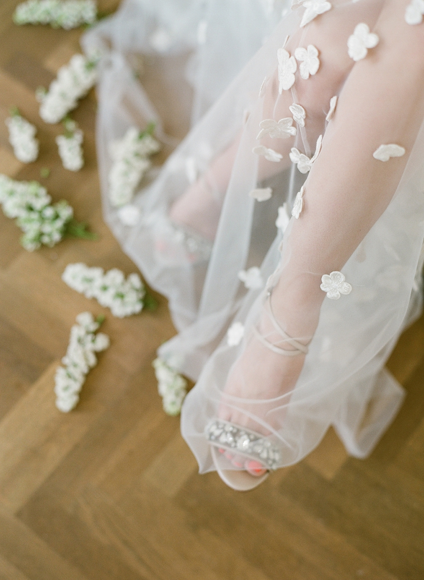 Bella Belle Bridal Shoes & Kaviar Gauche haute couture wedding dress with petals